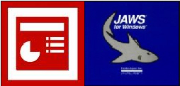 PowerPoint and Jaws Logos side-by-side.